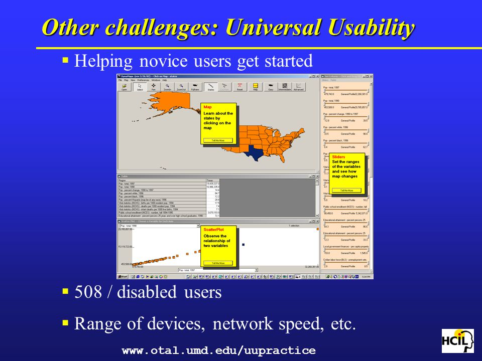 Other challenges: Universal Usability Helping novice users get started 508 / disabled users Range of devices, network speed, etc. www.otal.umd.edu/uup