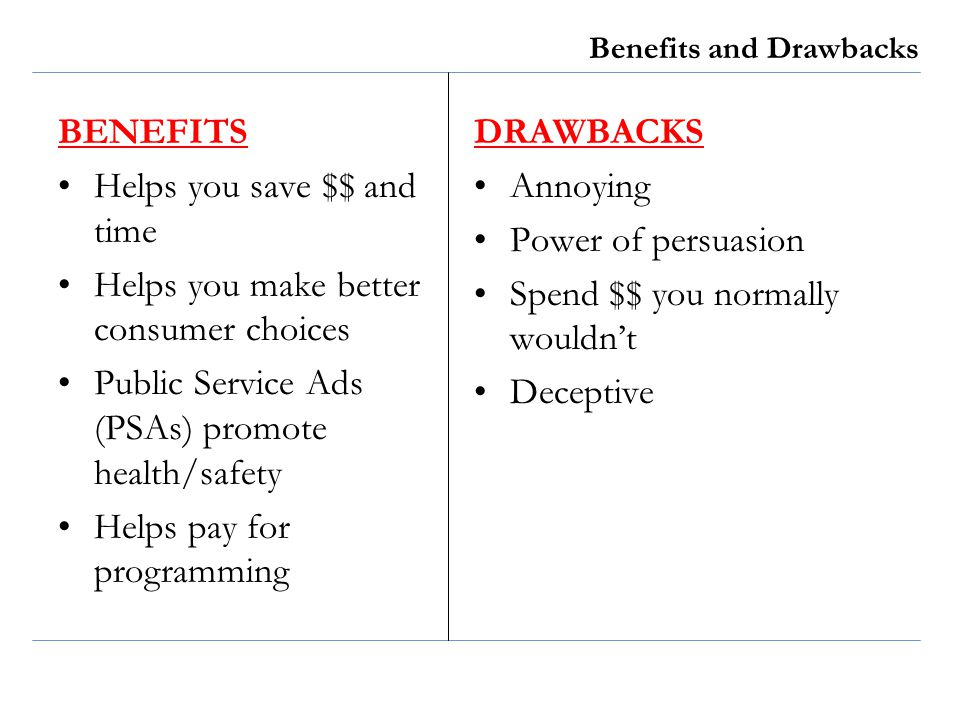 Benefits and Drawbacks BENEFITS Helps you save $$ and time Helps you make better consumer choices Public Service Ads (PSAs) promote health/safety Help