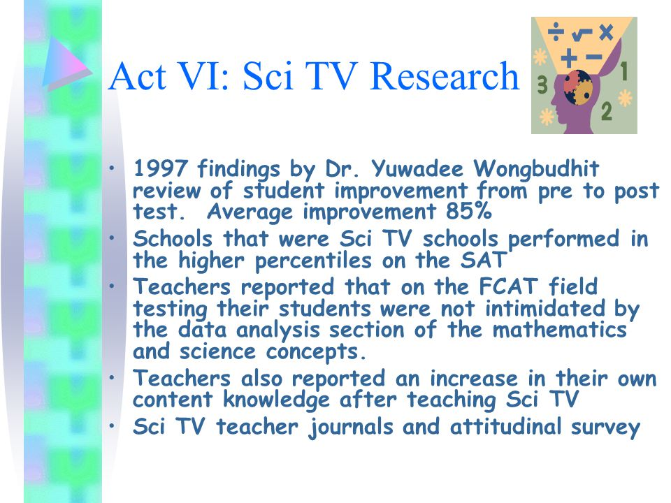 Act VI: Sci TV Research 1997 findings by Dr.