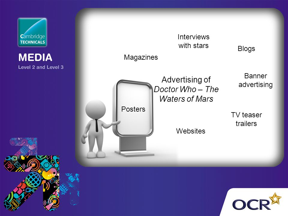 Advertising of Doctor Who – The Waters of Mars Magazines Interviews with stars Blogs Banner advertising TV teaser trailers Websites Posters