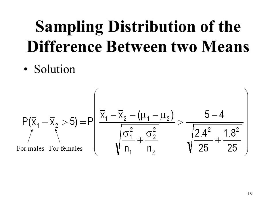 19 Solution Sampling Distribution of the Difference Between two Means For males For females