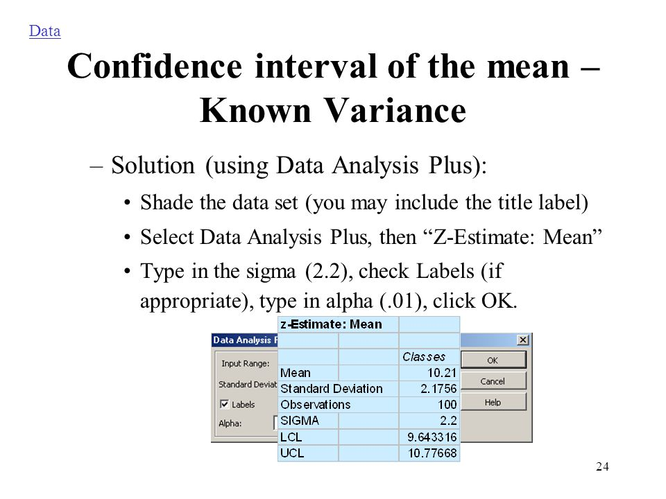 24 –Solution (using Data Analysis Plus): Shade the data set (you may include the title label) Select Data Analysis Plus, then Z-Estimate: Mean Type in