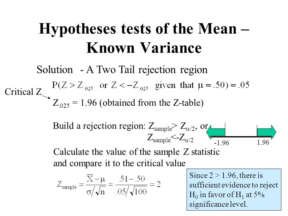 33 Calculate the value of the sample Z statistic and compare it to the critical value Z.025 = 1.96 (obtained from the Z-table) Build a rejection regio