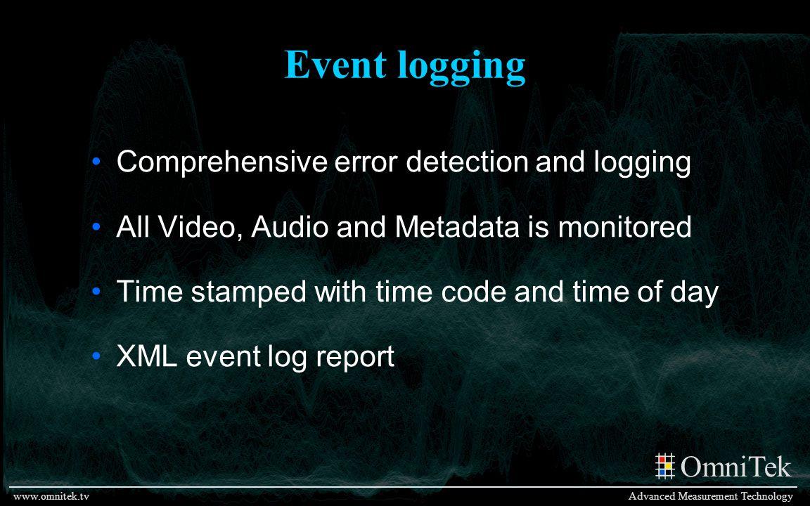 OmniTek Advanced Measurement Technologywww.omnitek.tv Event logging Comprehensive error detection and logging All Video, Audio and Metadata is monitor