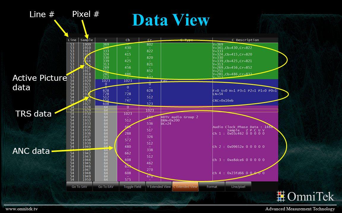 OmniTek Advanced Measurement Technologywww.omnitek.tv Data View Active Picture data TRS data ANC data Line # Pixel #