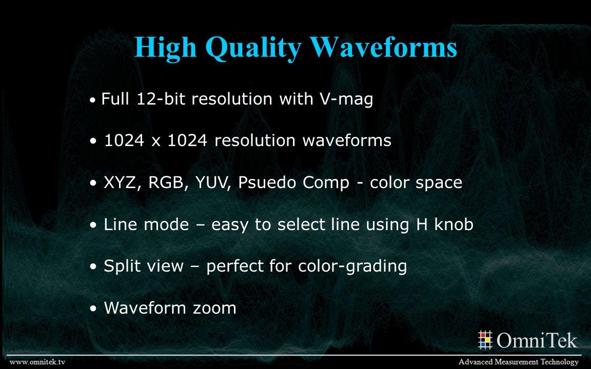 OmniTek Advanced Measurement Technologywww.omnitek.tv High Quality Waveforms Full 12-bit resolution with V-mag 1024 x 1024 resolution waveforms XYZ, R
