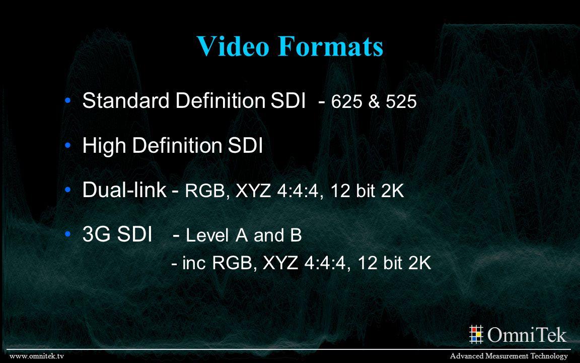 OmniTek Advanced Measurement Technologywww.omnitek.tv Video Formats Standard Definition SDI - 625 & 525 High Definition SDI Dual-link - RGB, XYZ 4:4:4