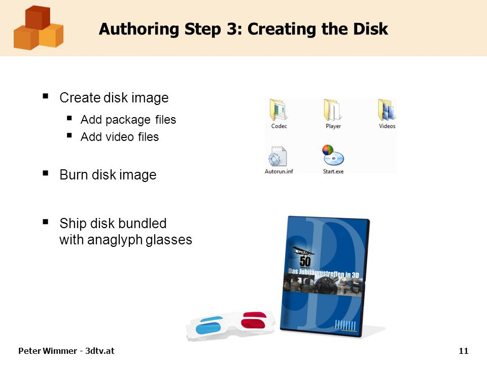Authoring Step 3: Creating the Disk Create disk image Add package files Add video files Burn disk image Ship disk bundled with anaglyph glasses Peter
