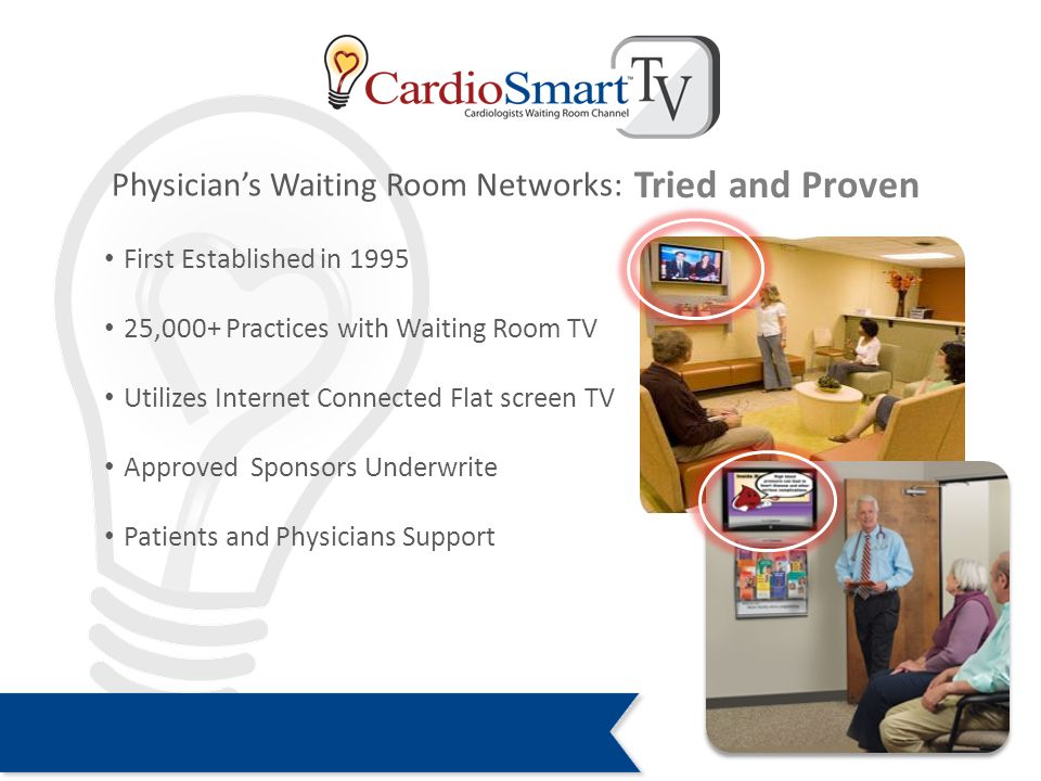 First Established in 1995 25,000+ Practices with Waiting Room TV Utilizes Internet Connected Flat screen TV Approved Sponsors Underwrite Patients and Physicians Support Physicians Waiting Room Networks: Tried and Proven