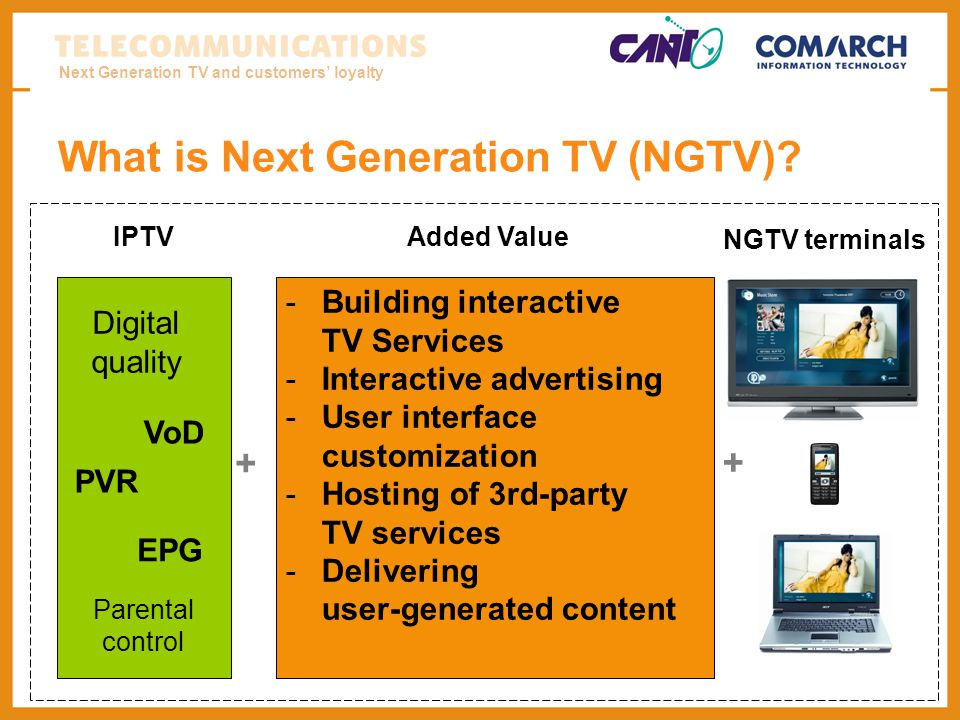 Next Generation TV and customers loyalty What is Next Generation TV (NGTV)? -Building interactive TV Services -Interactive advertising -User interface