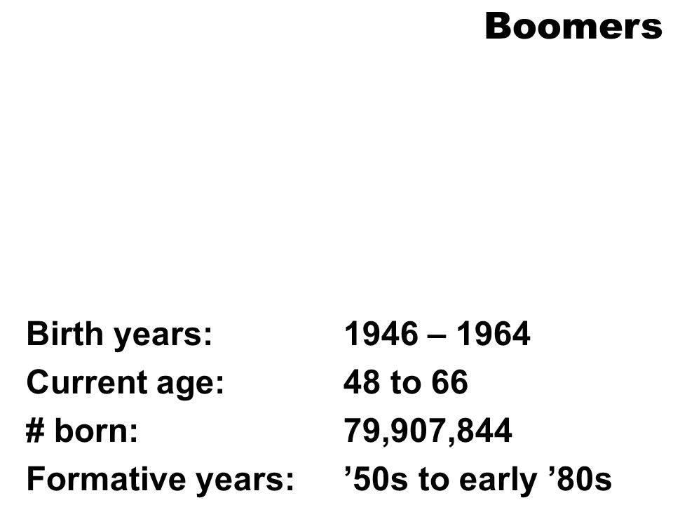 Boomers Birth years: 1946 – 1964 Current age: 48 to 66 # born: 79,907,844 Formative years: 50s to early 80s