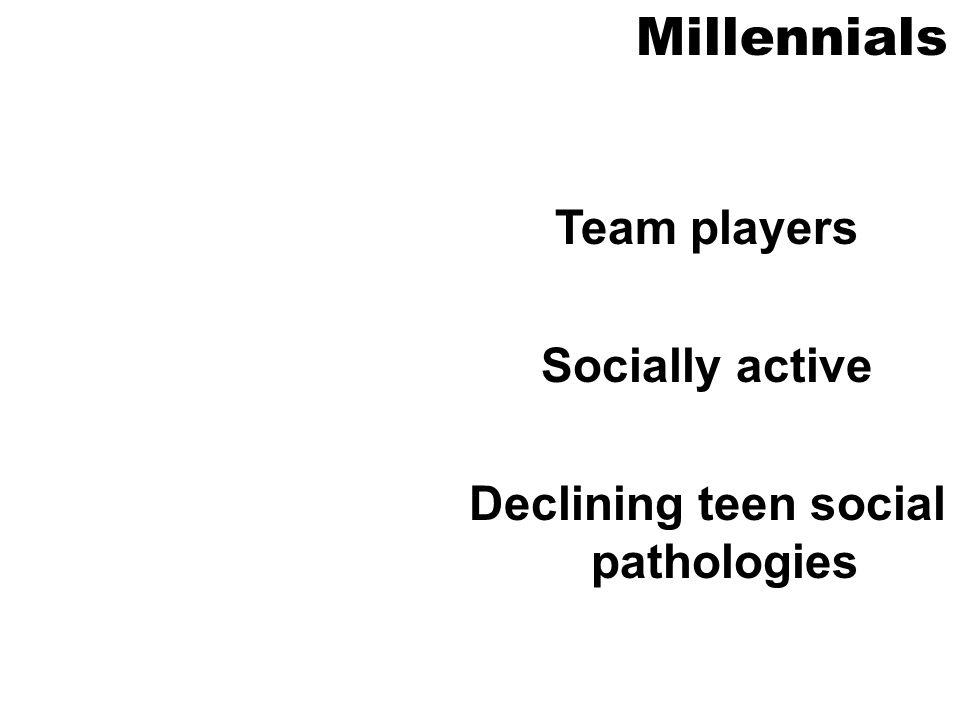 Millennials Team players Socially active Declining teen social pathologies