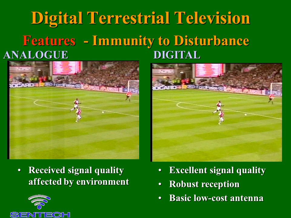 Digital Terrestrial Television Received signal quality affected by environmentReceived signal quality affected by environment Excellent signal quality