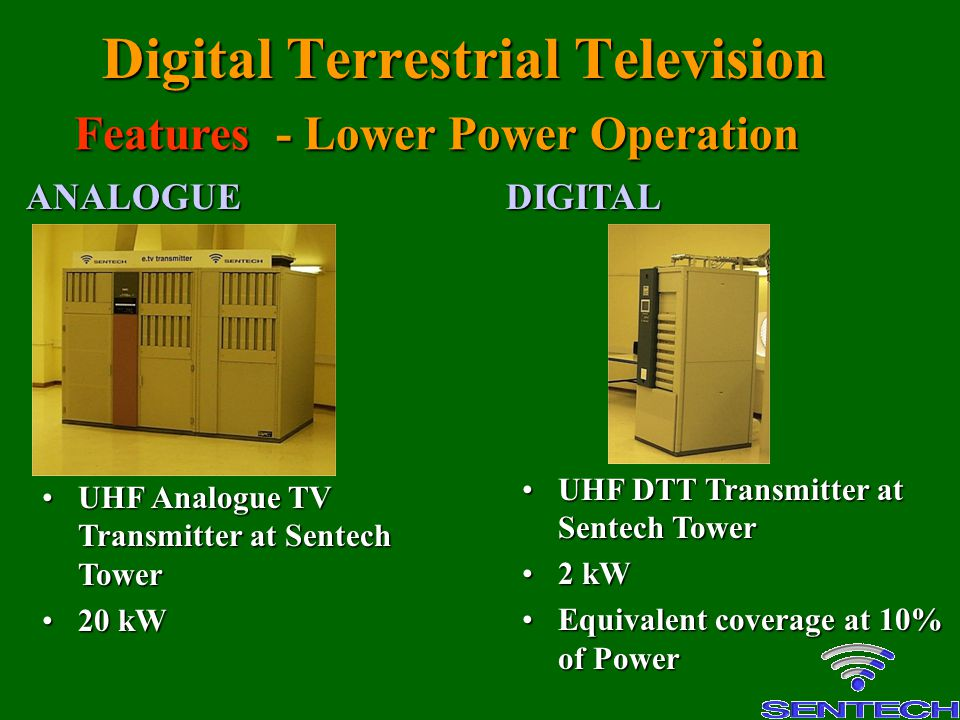 Digital Terrestrial Television UHF Analogue TV Transmitter at Sentech TowerUHF Analogue TV Transmitter at Sentech Tower 20 kW20 kW UHF DTT Transmitter at Sentech TowerUHF DTT Transmitter at Sentech Tower 2 kW2 kW Equivalent coverage at 10% of PowerEquivalent coverage at 10% of Power ANALOGUEDIGITAL Features - Lower Power Operation