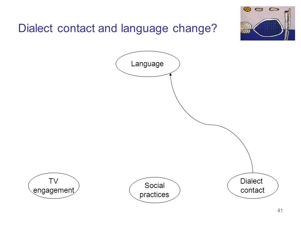 40 TV engagement Language Social practices Dialect contact Attitudes and language change attitudes