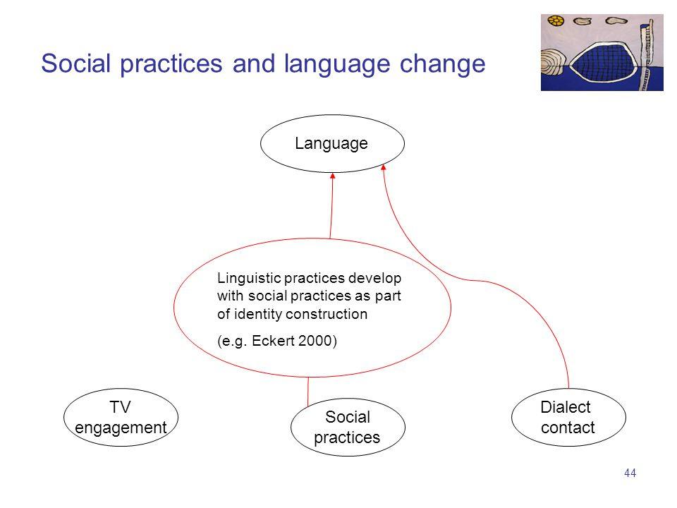 43 TV engagement Language Social practices Dialect contact Social practices and language change