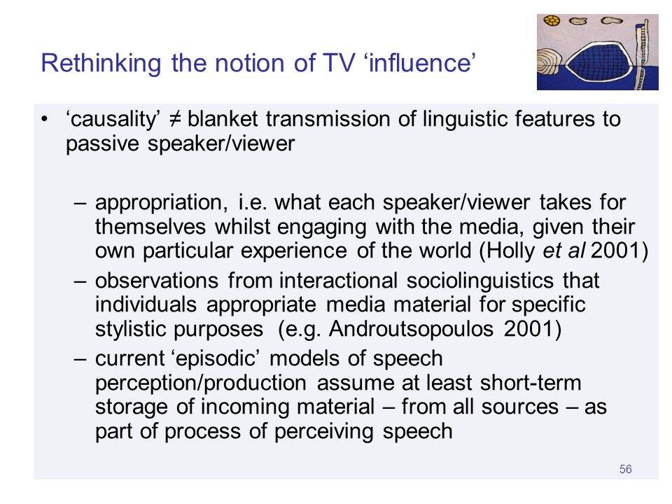 55 TV engagement Language Social practices Dialect contact TV and language change.