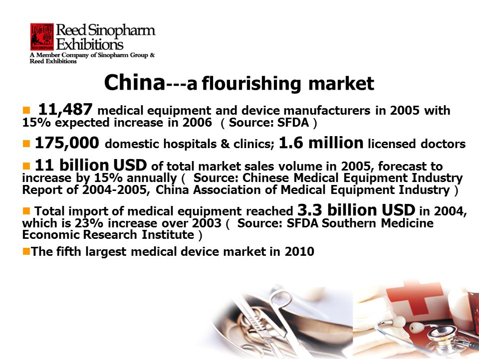 China --- a flourishing market 11,487 medical equipment and device manufacturers in 2005 with 15% expected increase in 2006 Source: SFDA 11,487 medical equipment and device manufacturers in 2005 with 15% expected increase in 2006 Source: SFDA 175,000 domestic hospitals & clinics; 1.6 million licensed doctors 175,000 domestic hospitals & clinics; 1.6 million licensed doctors 11 billion USD of total market sales volume in 2005, forecast to increase by 15% annually Source: Chinese Medical Equipment Industry Report of 2004-2005, China Association of Medical Equipment Industry 11 billion USD of total market sales volume in 2005, forecast to increase by 15% annually Source: Chinese Medical Equipment Industry Report of 2004-2005, China Association of Medical Equipment Industry Total import of medical equipment reached 3.3 billion USD in 2004, which is 23% increase over 2003 Source: SFDA Southern Medicine Economic Research Institute Total import of medical equipment reached 3.3 billion USD in 2004, which is 23% increase over 2003 Source: SFDA Southern Medicine Economic Research Institute The fifth largest medical device market in 2010 The fifth largest medical device market in 2010