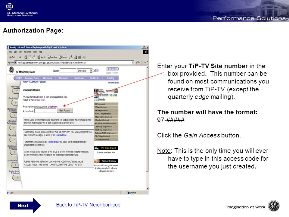 Authorization Page: Enter your TiP-TV Site number in the box provided.