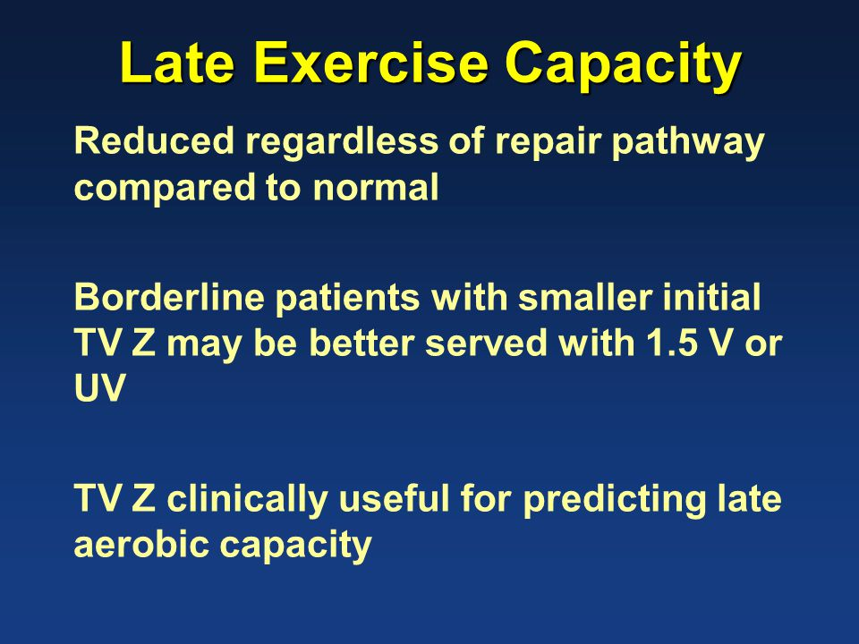 Late Exercise Capacity Reduced regardless of repair pathway compared to normal Borderline patients with smaller initial TV Z may be better served with