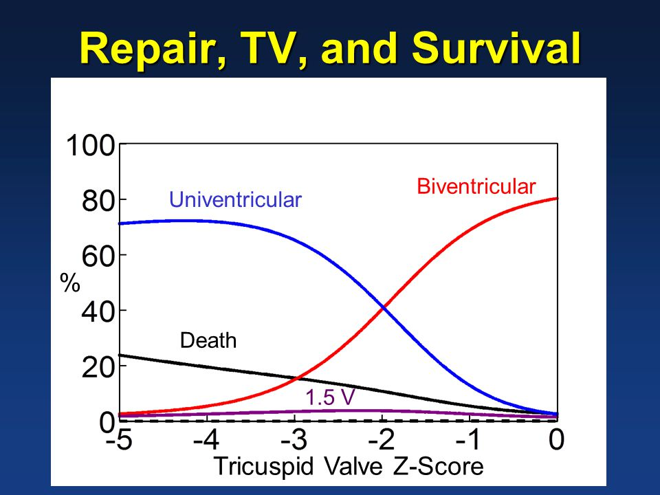 -5 -4 -3 -2 -1 0 1 110 100 90 80 70 60 50 40 30 Initial Tricuspid Valve Z-Score Peak Oxygen Consumption (% predicted) 1.5V UV BV Peak VO2,TV Size, and Repair Pathway