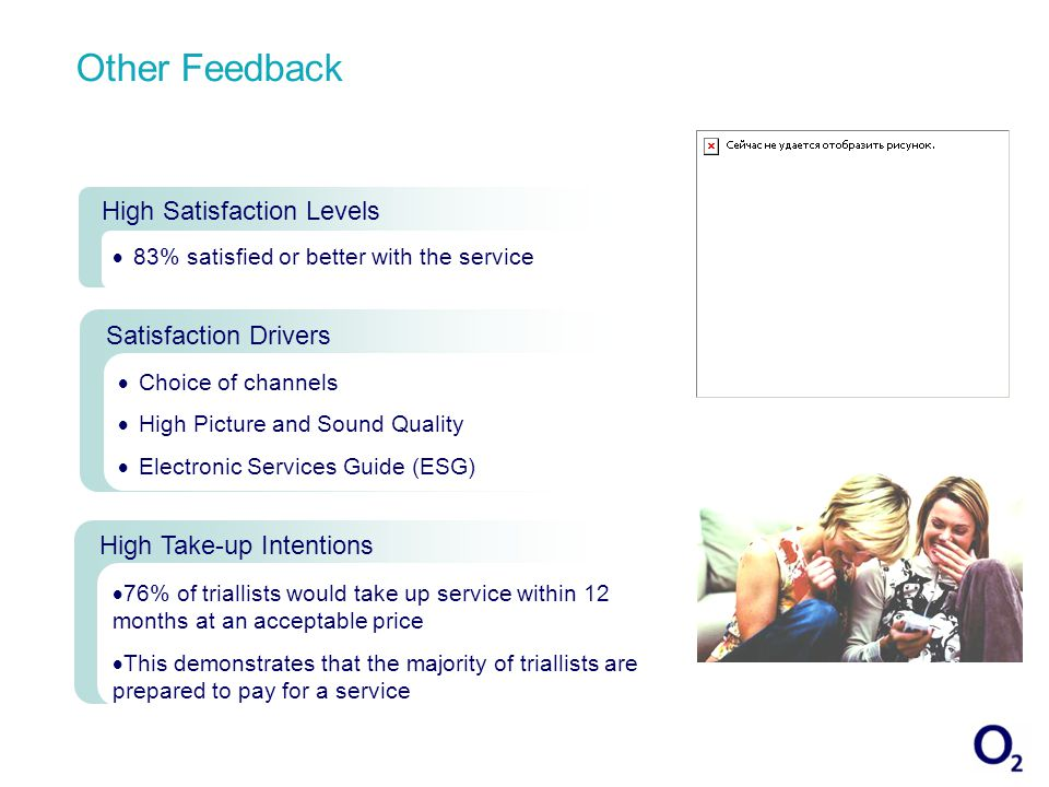 Other Feedback High Satisfaction Levels 83% satisfied or better with the service Satisfaction Drivers Choice of channels High Picture and Sound Quality Electronic Services Guide (ESG) High Take-up Intentions 76% of triallists would take up service within 12 months at an acceptable price This demonstrates that the majority of triallists are prepared to pay for a service