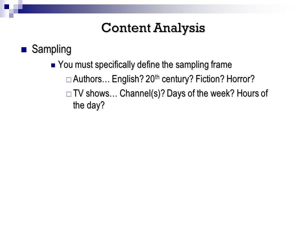 Sampling Sampling You must specifically define the sampling frame You must specifically define the sampling frame Authors… English.