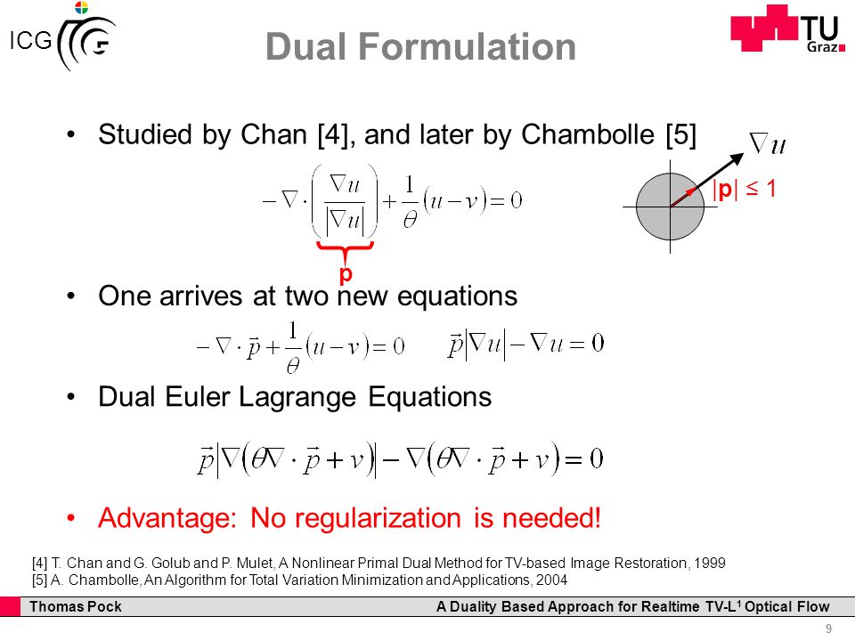 Professor Horst Cerjak, 19.12.2005 9 Thomas Pock A Duality Based Approach for Realtime TV-L 1 Optical Flow ICG Dual Formulation Studied by Chan [4], and later by Chambolle [5] p One arrives at two new equations [4] T.