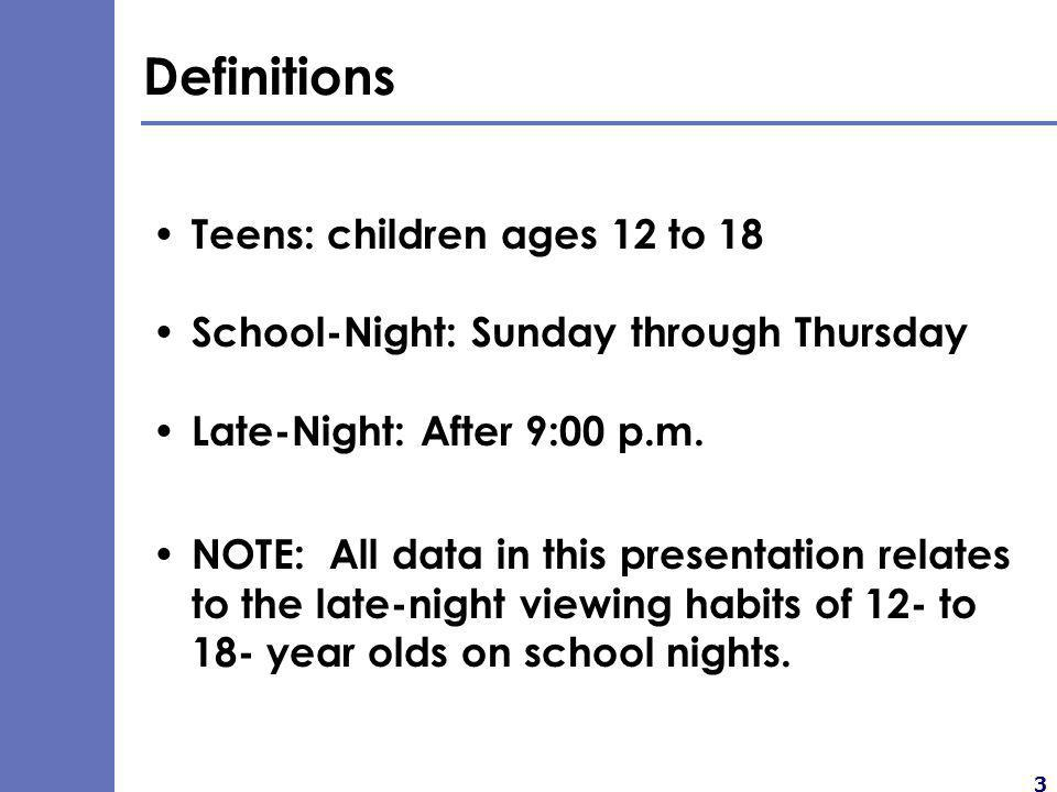4 Major Findings The teen night-time TV viewing audience is very large.