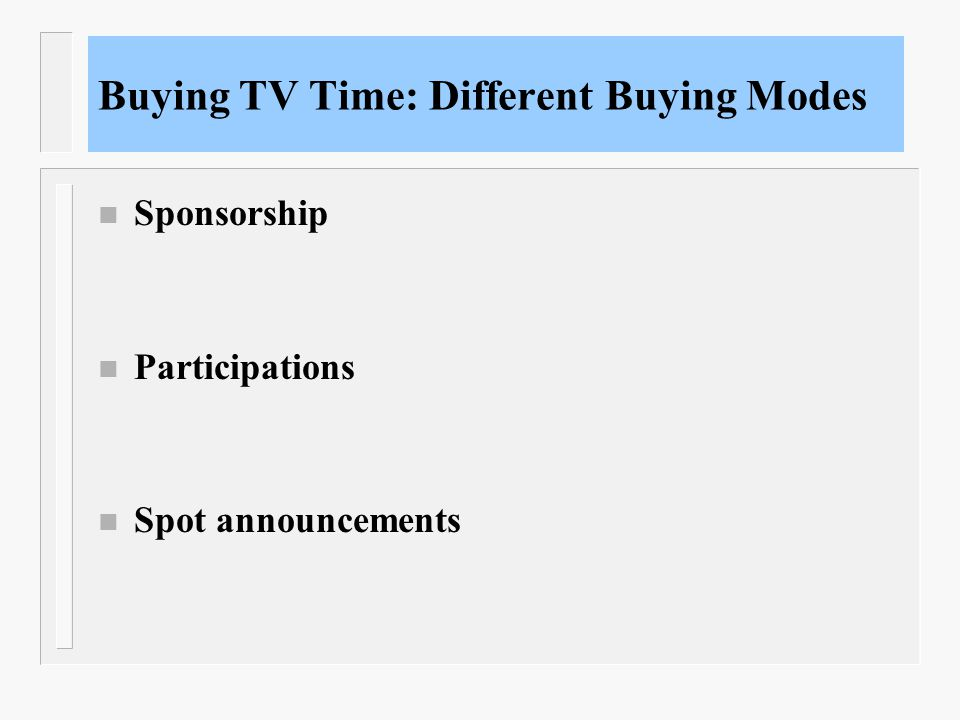 Buying TV Time: Different Buying Modes n Sponsorship n Participations n Spot announcements