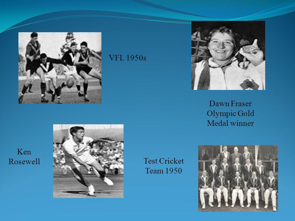 VFL 1950s Dawn Fraser Olympic Gold Medal winner Ken Rosewell Test Cricket Team 1950