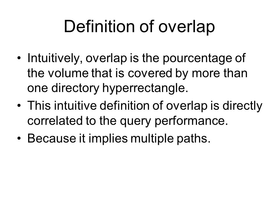 Definition of overlap Intuitively, overlap is the pourcentage of the volume that is covered by more than one directory hyperrectangle. This intuitive