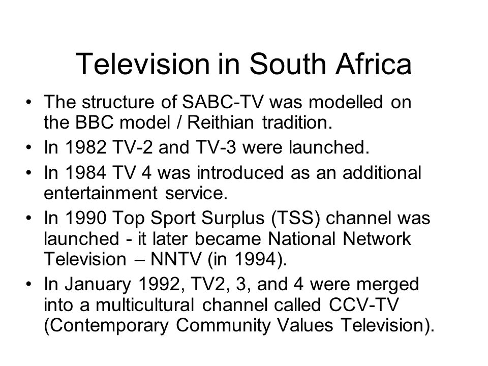Pay and subscription television M-Net (Electronic Media Network) was South Africas first subscription service TV station - began operating on 1 October 1986.