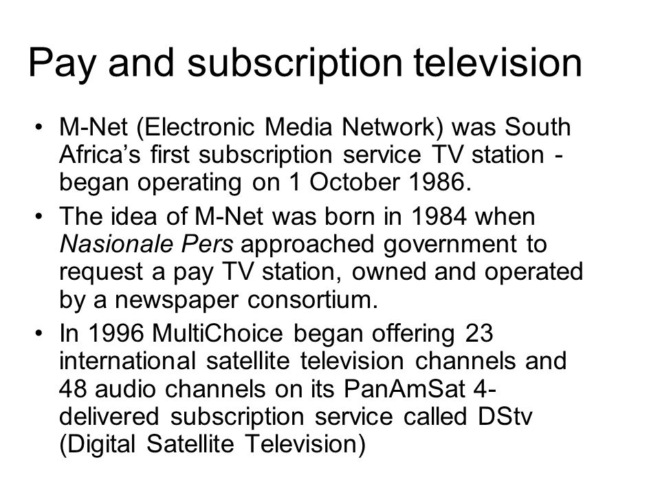 Commercial television e.tv is South Africa s first private free-to-air television channel.