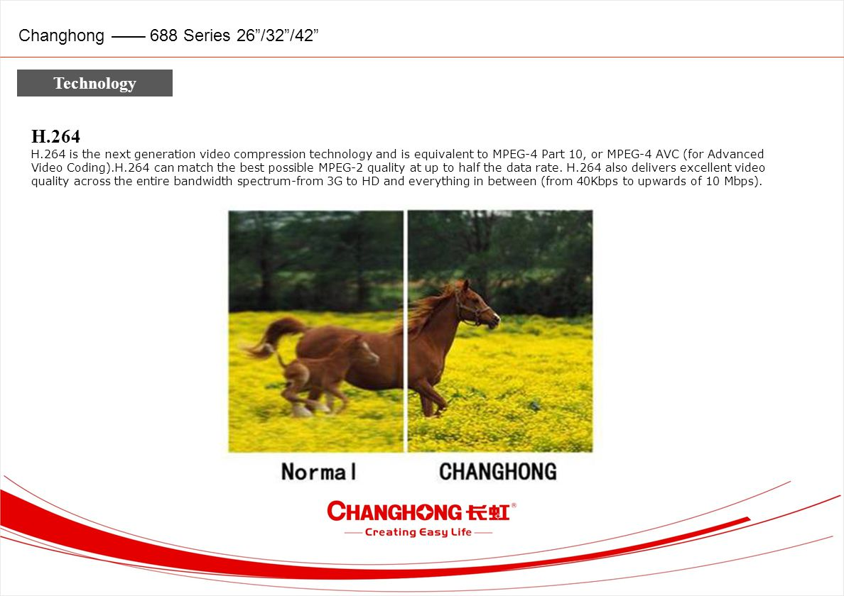 Changhong 688 Series 26/32/42 Technology H.264 H.264 is the next generation video compression technology and is equivalent to MPEG-4 Part 10, or MPEG-4 AVC (for Advanced Video Coding).H.264 can match the best possible MPEG-2 quality at up to half the data rate.