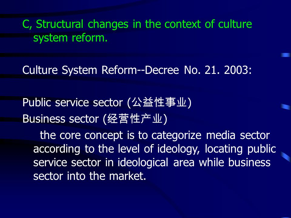 C, Structural changes in the context of culture system reform.