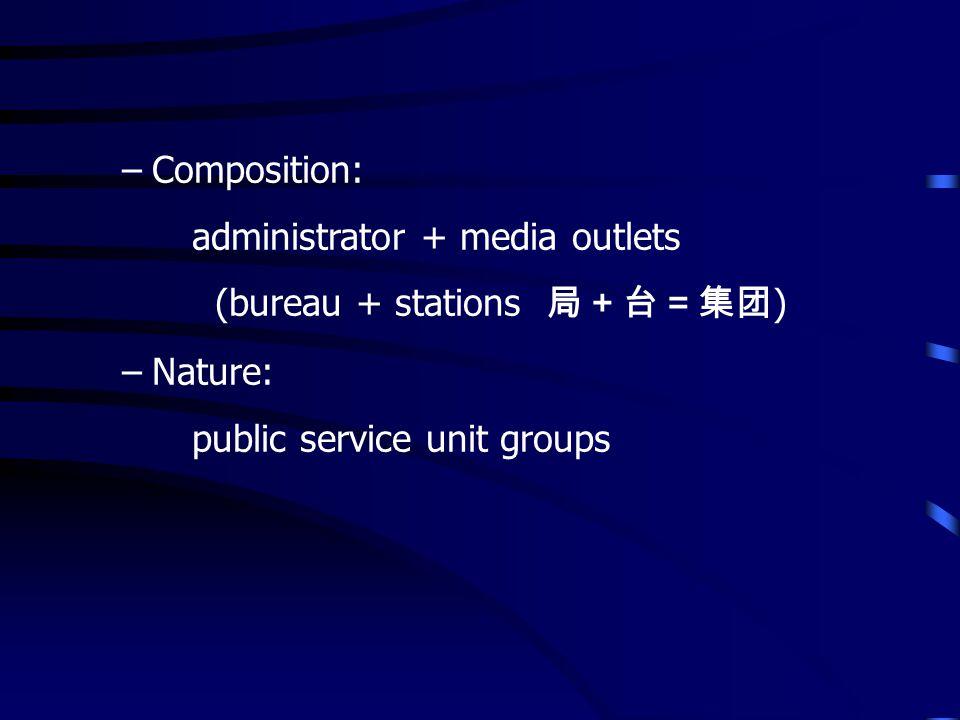 –Composition: administrator + media outlets (bureau + stations ) –Nature: public service unit groups