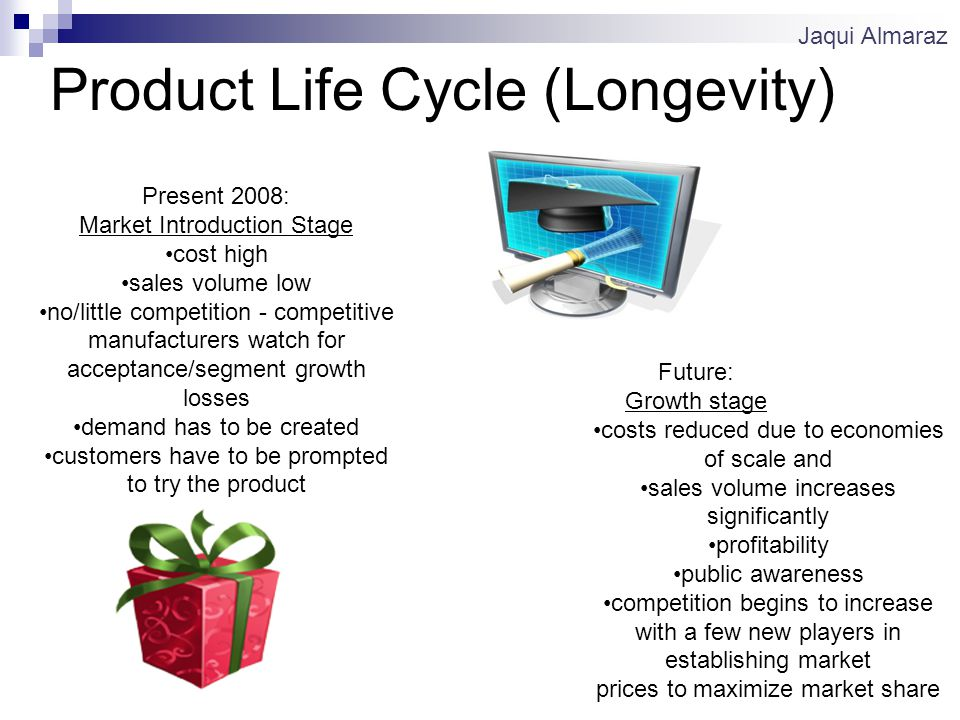 Product Life Cycle (Longevity) Present 2008: Market Introduction Stage cost high sales volume low no/little competition - competitive manufacturers watch for acceptance/segment growth losses demand has to be created customers have to be prompted to try the product Future: Growth stage costs reduced due to economies of scale and sales volume increases significantly profitability public awareness competition begins to increase with a few new players in establishing market prices to maximize market share Jaqui Almaraz