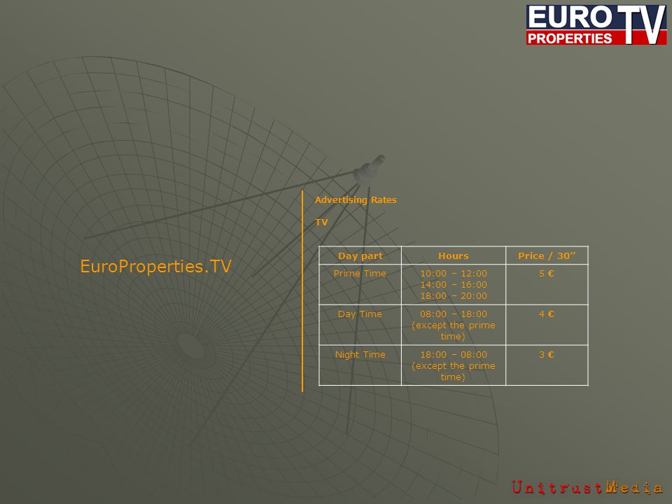 Advertising Rates TV EuroProperties.TV Day partHoursPrice / 30 Prime Time10:00 – 12:00 14:00 – 16:00 18:00 – 20:00 5 Day Time08:00 – 18:00 (except the prime time) 4 Night Time18:00 – 08:00 (except the prime time) 3