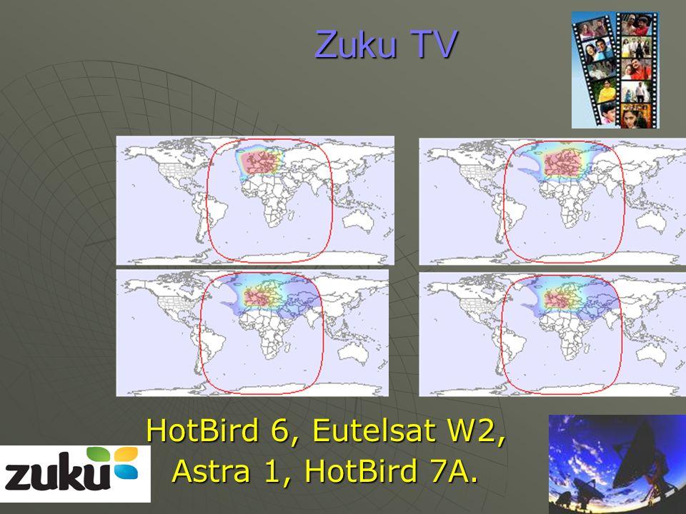 Zuku TV HotBird 6, Eutelsat W2, Astra 1, HotBird 7A.