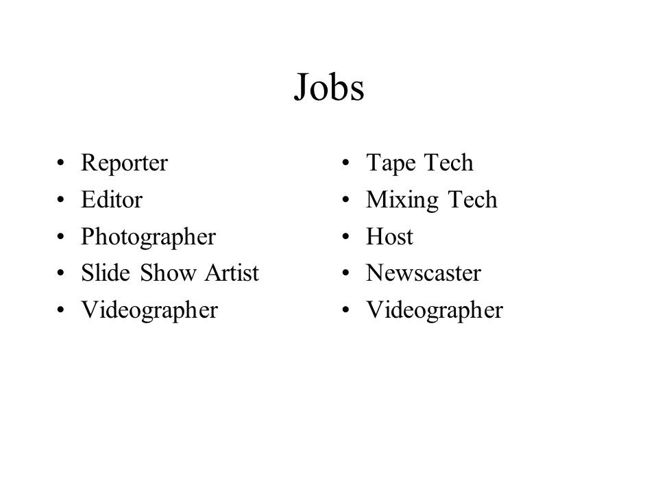 Jobs Reporter Editor Photographer Slide Show Artist Videographer Tape Tech Mixing Tech Host Newscaster Videographer