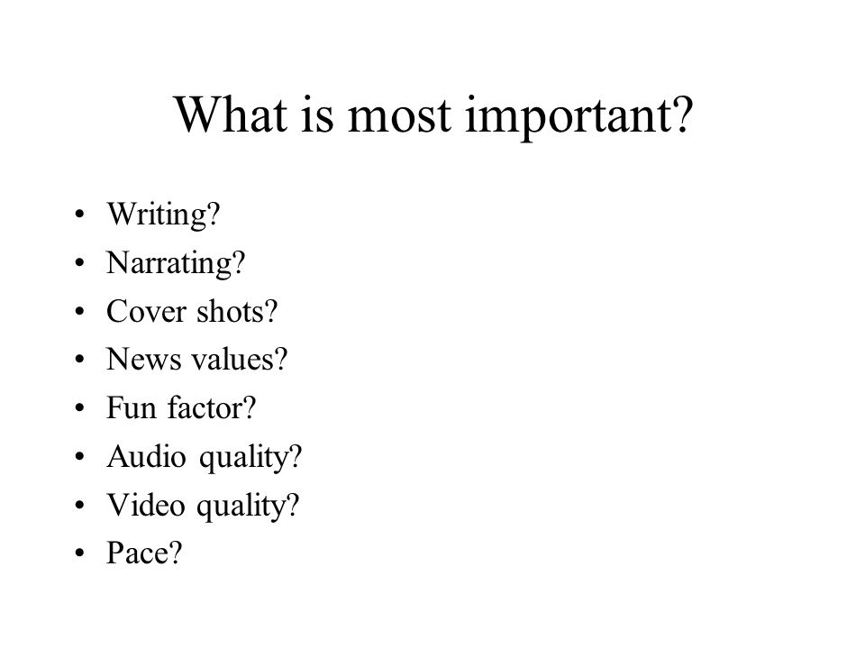 What is most important. Writing. Narrating. Cover shots.