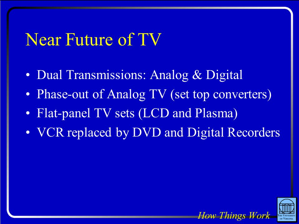 Near Future of TV Dual Transmissions: Analog & Digital Phase-out of Analog TV (set top converters) Flat-panel TV sets (LCD and Plasma) VCR replaced by DVD and Digital Recorders