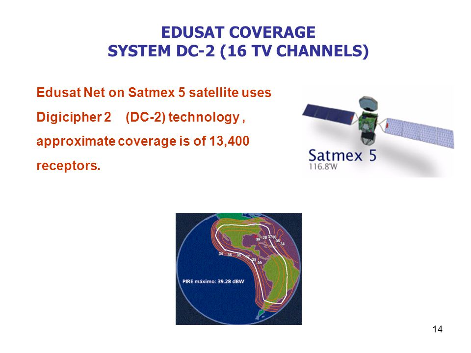14 EDUSAT COVERAGE SYSTEM DC-2 (16 TV CHANNELS) Edusat Net on Satmex 5 satellite uses Digicipher 2 (DC-2) technology, approximate coverage is of 13,400 receptors.