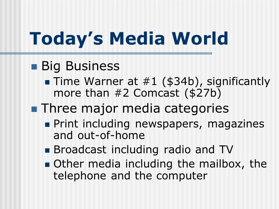 Todays Media World Big Business Time Warner at #1 ($34b), significantly more than #2 Comcast ($27b) Three major media categories Print including newspapers, magazines and out-of-home Broadcast including radio and TV Other media including the mailbox, the telephone and the computer
