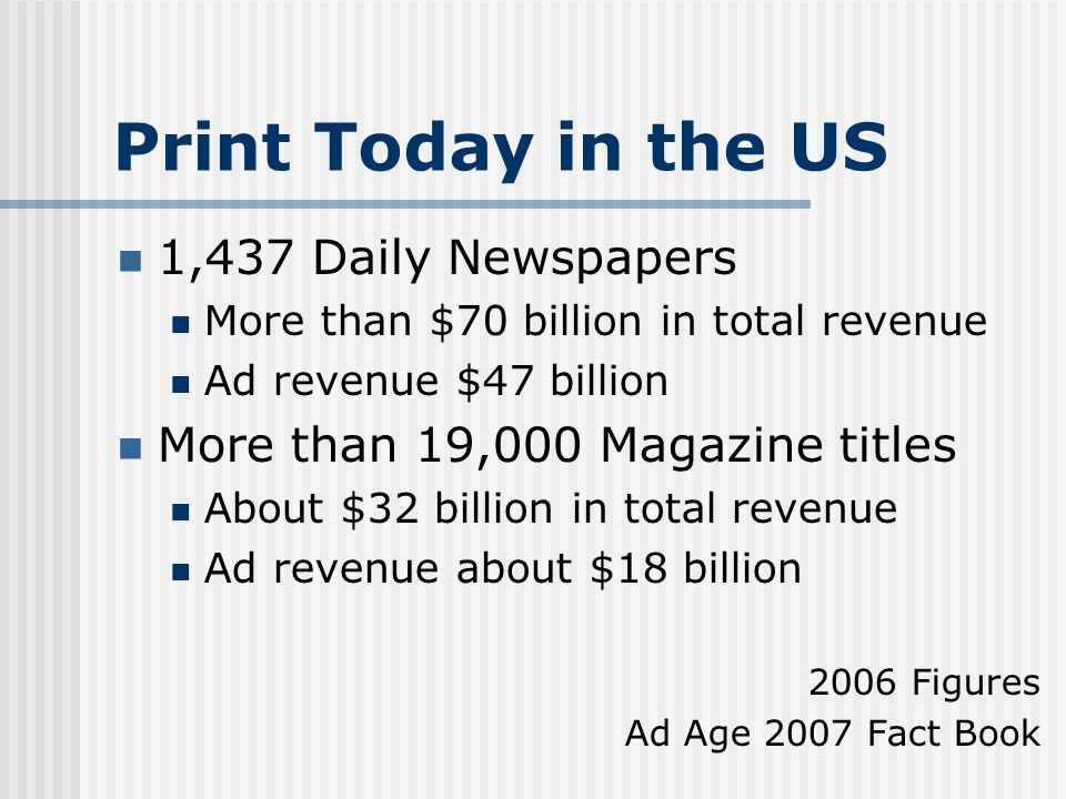 Print Today in the US 1,437 Daily Newspapers More than $70 billion in total revenue Ad revenue $47 billion More than 19,000 Magazine titles About $32 billion in total revenue Ad revenue about $18 billion 2006 Figures Ad Age 2007 Fact Book