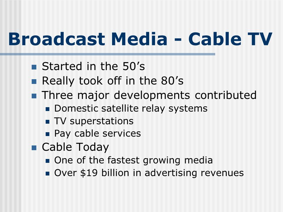 Cable TV Penetration Boomed in the 80s