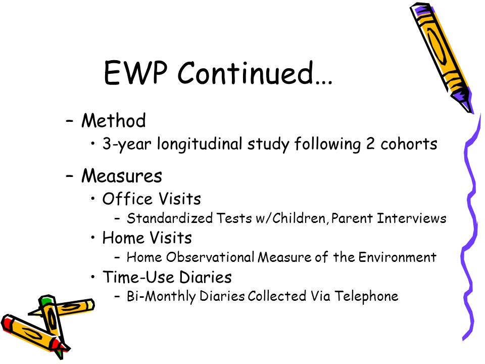 EWP Continued… –Method 3-year longitudinal study following 2 cohorts –Measures Office Visits –Standardized Tests w/Children, Parent Interviews Home Vi