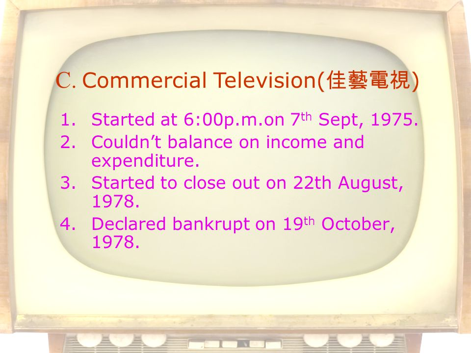 1.Started at 6:00p.m.on 7 th Sept, 1975. 2.Couldnt balance on income and expenditure.
