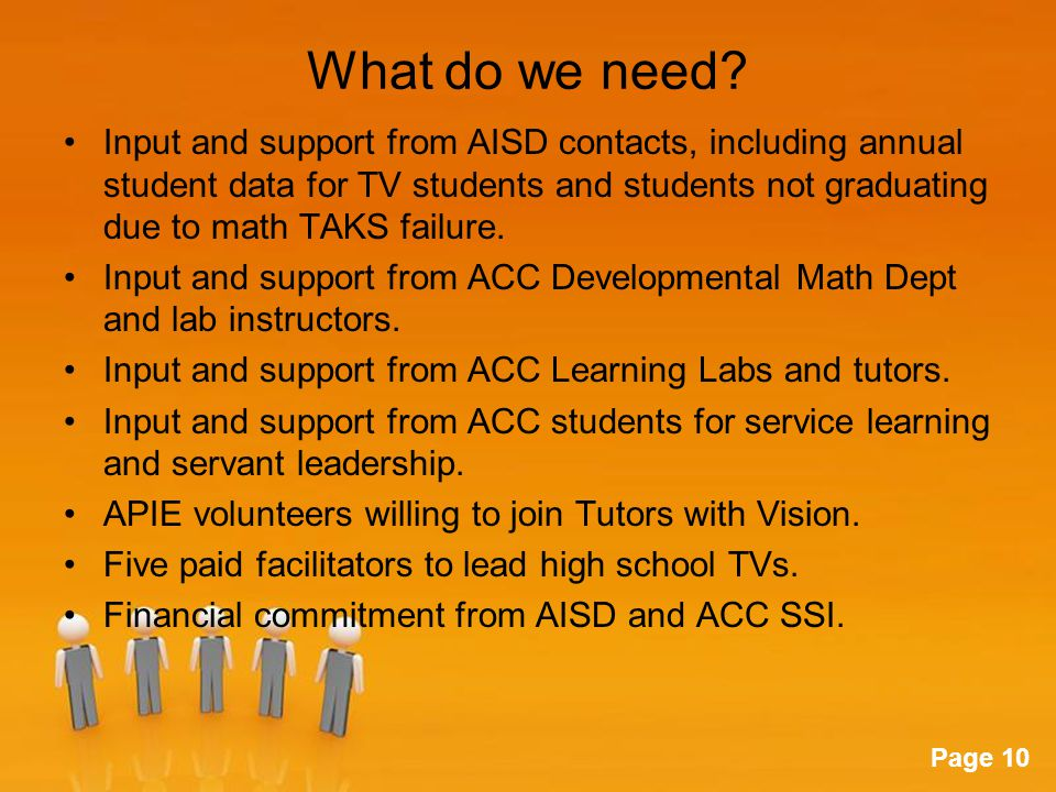Powerpoint Templates Page 10 What do we need? Input and support from AISD contacts, including annual student data for TV students and students not gra